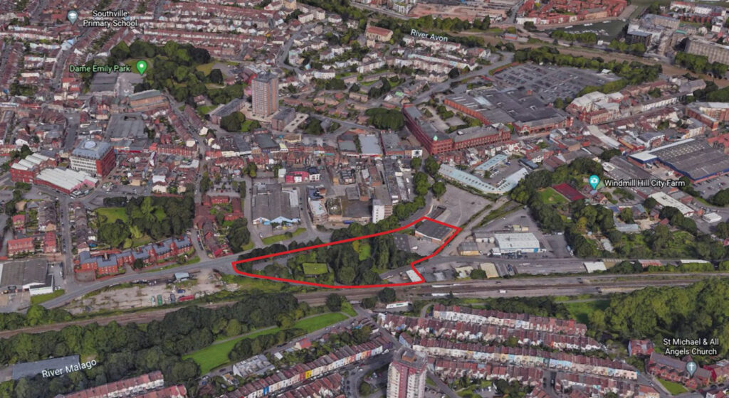 Aerial view of 'plot-5' site at Bedminster Green Bristol