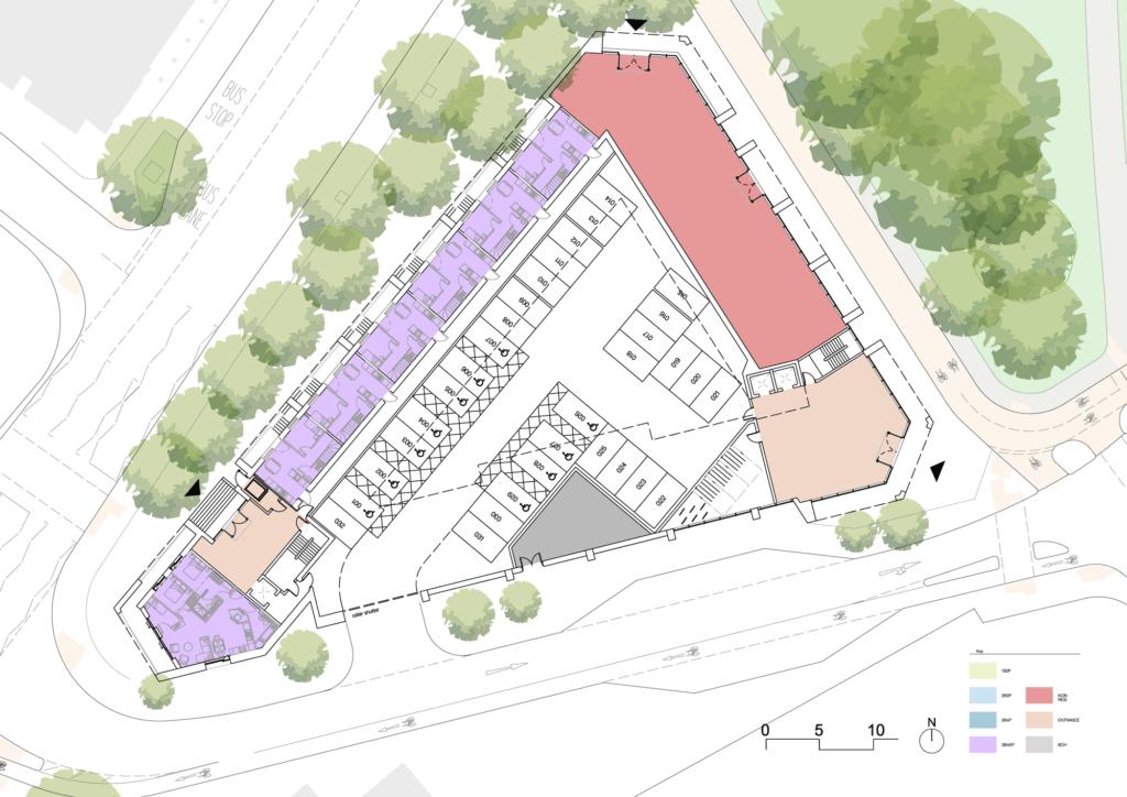 Building one ground floorplan
