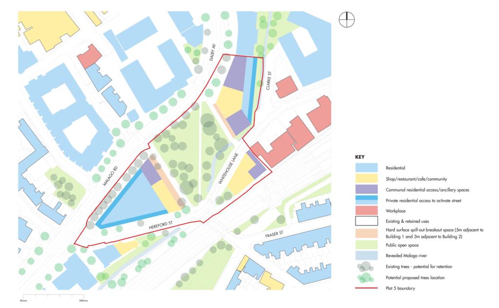 Plan showing ground floor use