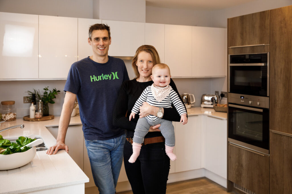 A family in their new Dandara home at Knights Wood Tunbridge Wells